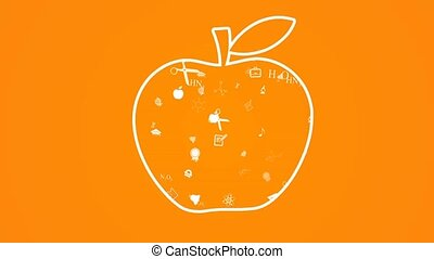 Education Apple. Education icons flying out of the apple