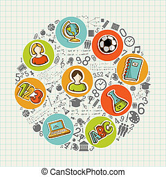 Education back to school colorful social icons.