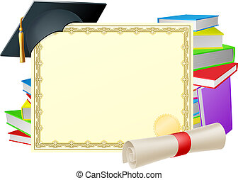 Education background - Certificate with copy-space and...