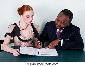 Education - black american man and redhead young woman - ...