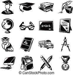 Education black icons set