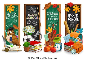 Education blackboard with back to school lettering