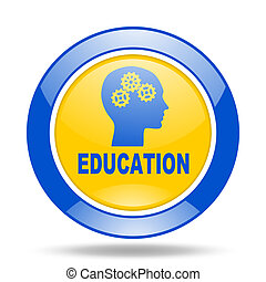 education blue and yellow web glossy round icon