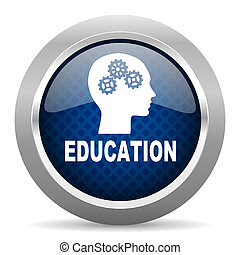 education blue circle glossy web icon on white background, round button for internet and mobile app