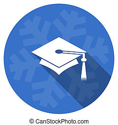 education blue flat design christmas winter web icon with...