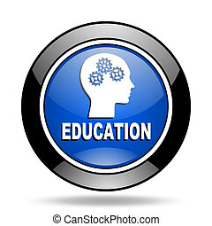 education blue glossy icon