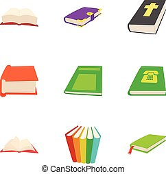 Education book icons set, cartoon style