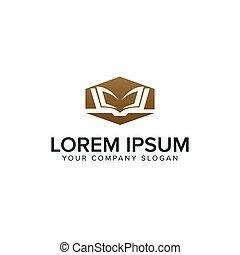 education book logo design concept template