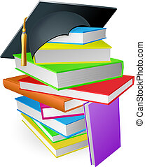 Education book pile graduation hat