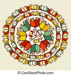 Education books back to school mandala.