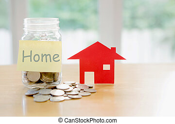 Education budget concept. home money savings in a glass