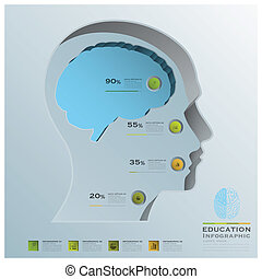 Education Business Infographic Head Brain Background