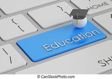 education button, blue key on keyboard. 3D rendering