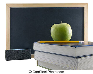 Chalkboard, apple, and textbooks, isolated on white background