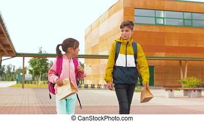 children with backpacks going to school - education, ...