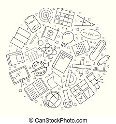 Education circle background from line icon. Linear vector pattern.