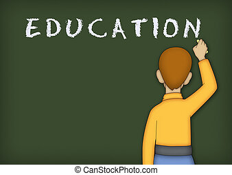 Education - Boy in yellow shirt writing the word EDUCATION...