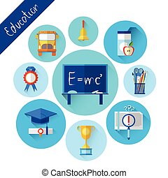 Education Collection Colorful Icon Set