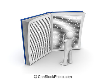 Education collection - Man reading huge book - 3d characters...