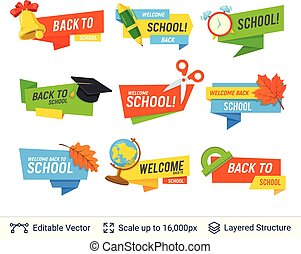 Education colorful badges vector set.
