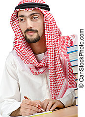education, concept, à, jeune, arabe