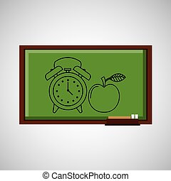 education concept blackboard with clock apple