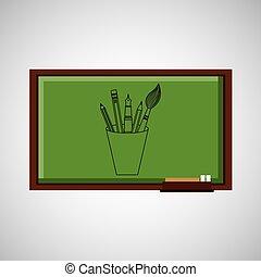education concept blackboard with tools school