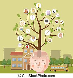Education concept brain tree, cartoon style
