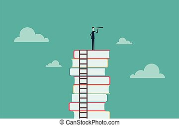 education concept Business people or students standing and watching books in the future Symbol of career, job, graduate, success, wisdom. Vector illustration
