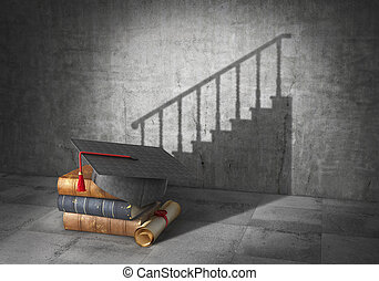 Education concept. Career perspective. Book with diploma cast shadow in form of career stair. 3d illustration