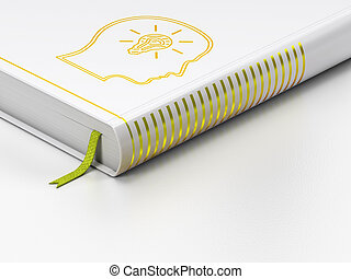 Education concept: closed book, Head With Lightbulb on white...