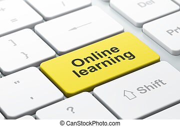 Education concept: computer keyboard with Online Learning -...