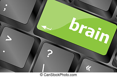 Education concept: computer keyboard key with brain word