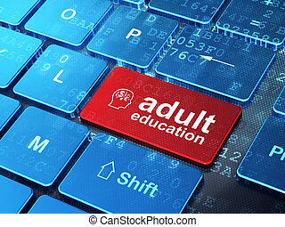 Education concept: computer keyboard with Finance Symbol icon and word Adult Education on enter button background, 3d render