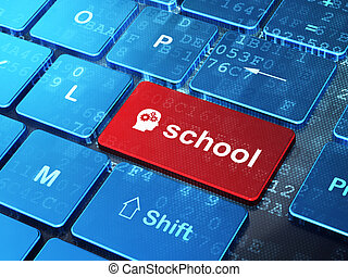 Education concept: computer keyboard with Head With Gears icon and word School on enter button background, 3d render