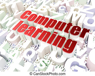 Education concept: Computer Learning on alphabet background