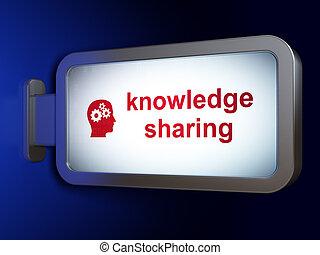education, concept:, connaissance, partage, et, tête, à, engrenages, sur, panneau affichage, fond