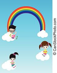 Education concept cute little kids boy and girl reading a book on the cloud and rainbow vector illustration eps10 002