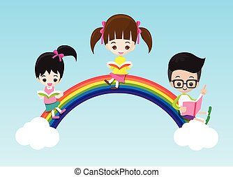 Education concept cute little kids boy and girl reading a book on the rainbow vector illustration eps10