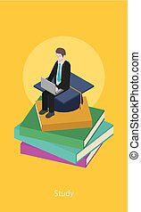 Education concept design 3d isometric vector illustration