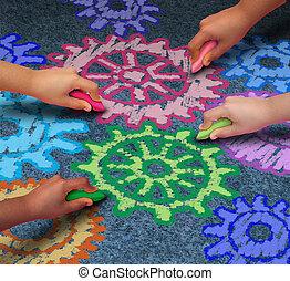 Education Concept - Education concept as a diverse community...