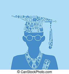 Education Concept - education icon forming shape of graduate...