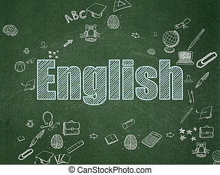 Education concept: English on School Board background