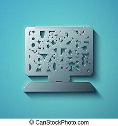 Education concept: flat metallic Computer Pc icon, vector