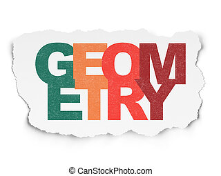 Education concept: Geometry on Torn Paper background