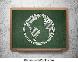 Education concept: Globe on chalkboard background