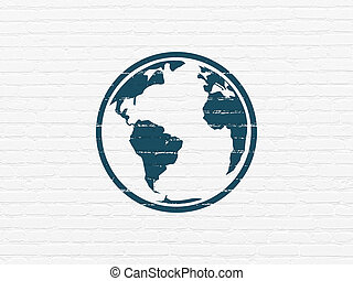 Education concept: Globe on wall background