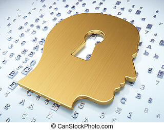 Education concept: Golden Head Whis Keyhole on digital background, 3d render