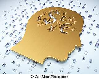 Education concept: Golden Head With Finance Symbol on digital background