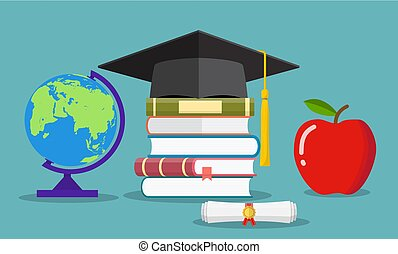 Education concept. Graduate hat, globe, books